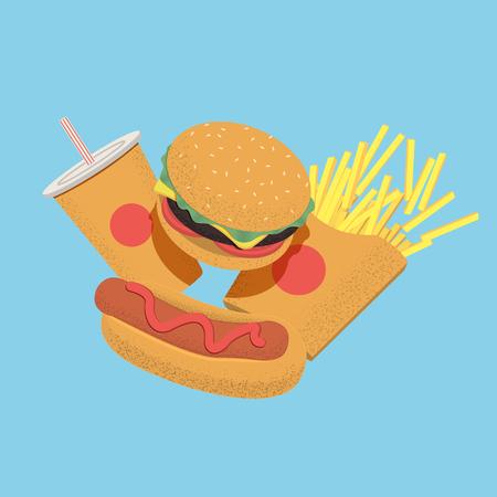 Fast food concept illustration for menu, banner or flyer. Vector illustration Stok Fotoğraf - 126739385
