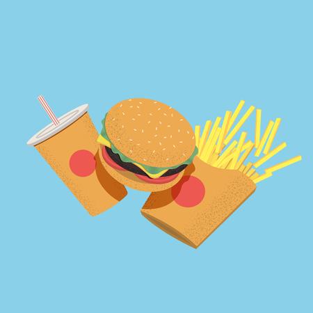 Fast food concept illustration for menu, banner or flyer. Vector illustration Çizim