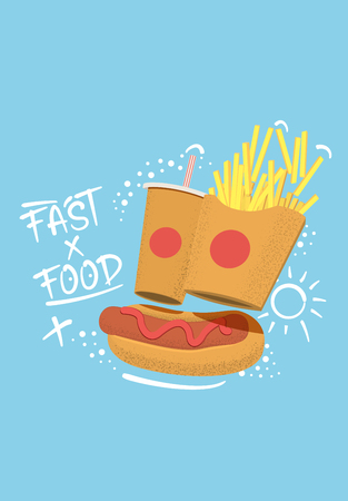 Fast food concept illustration with hand drawing lettering and doodles  for menu, banner or flyer. Vector illustration