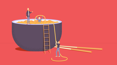 Bowl of noodles soup with chopsticks. Tiny people get noodles from the plate. Vector illustration Ilustrace