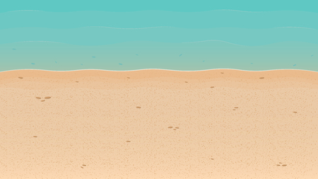 Summer time. Summer background with sandy beach and sea. Background for banner, poster or landing page. Vector illustration Stok Fotoğraf - 126082868