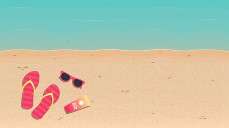 Summer time. Summer background with sandy beach and sea. Background for banner, poster or landing page. Vector illustration