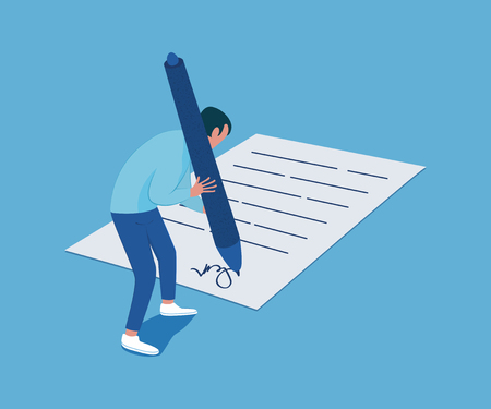 Tiny man with a big pen in his hands signs the document. Business concept. Vector illustration Foto de archivo - 126055286