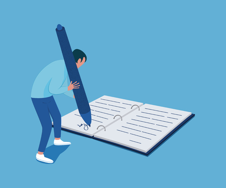 Tiny man with a big pen in his hands signs the document. Business concept. Vector illustration Çizim