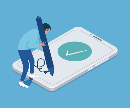 Electronic signature concept. Tiny man with a big pen in his hands and smartphone. Vector illustration Foto de archivo - 126055288