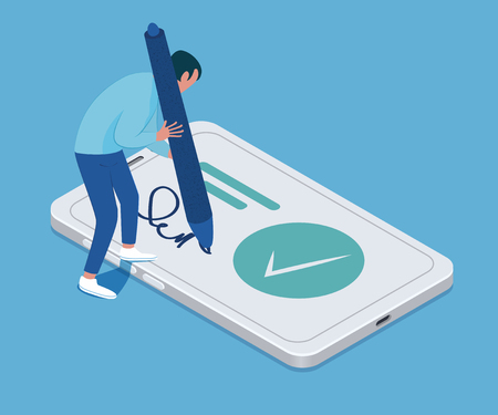 Electronic signature concept. Tiny man with a big pen in his hands and smartphone. Vector illustration