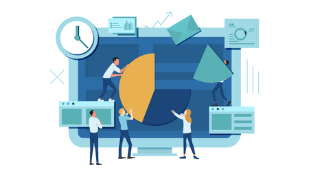 The team is working on a business project. The working process. Analytics, information gathering, teamwork. Monitor and business team isolated on white background. Vector illustration.