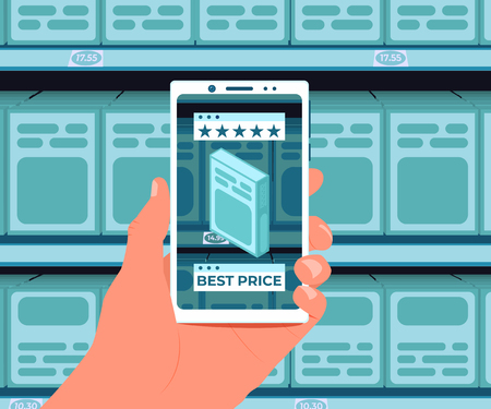 Augmented Reality Technology. Augmented reality application for purchases. Additional information about the product on the smartphone screen. Hand with a smartphone on the background of shelves in the store. Vector illustration. Çizim