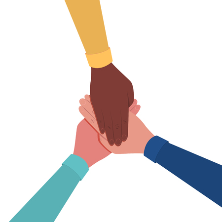 Hands together. Symbol of teamwork and unity. People putting their hands together. Top view. Vector flat illustration Stok Fotoğraf - 125882480