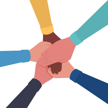 Hands together. Symbol of teamwork and unity. People putting their hands together. Top view. Vector flat illustration Çizim