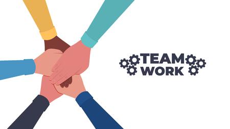 Hands together. Symbol of teamwork and unity. People putting their hands together. Top view. Vector flat illustration Ilustração