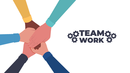 Hands together. Symbol of teamwork and unity. People putting their hands together. Top view. Vector flat illustration Illustration