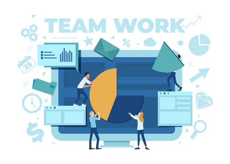 The team is working on a business project. The working process. Analytics, information gathering, teamwork. Monitor and business team isolated on white background. Vector illustration. Foto de archivo - 125882483