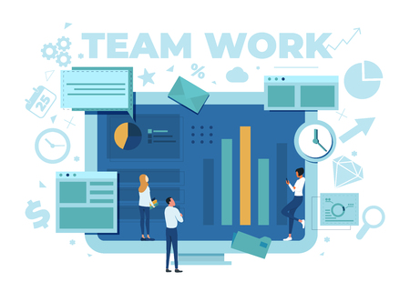 The team is working on a business project. The working process. Analytics, information gathering, teamwork. Monitor and business team isolated on white background. Vector illustration. Stok Fotoğraf - 125882485