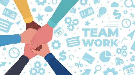 Hands together. Symbol of teamwork and unity. People putting their hands together on a icons background. Top view. Vector flat illustration Stok Fotoğraf - 125882486
