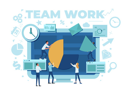 The team is working on a business project. The working process. Analytics, information gathering, teamwork. Monitor and business team isolated on white background. Vector illustration. Stok Fotoğraf - 125882487