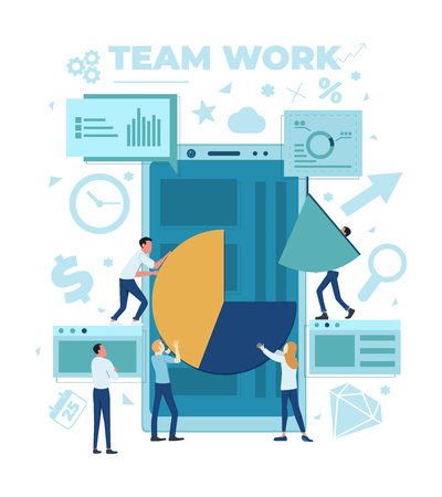 The team is working on a business project. The working process. Analytics, information gathering, teamwork. Smartphone and business team isolated on white background. Vector illustration. Stok Fotoğraf - 125882488