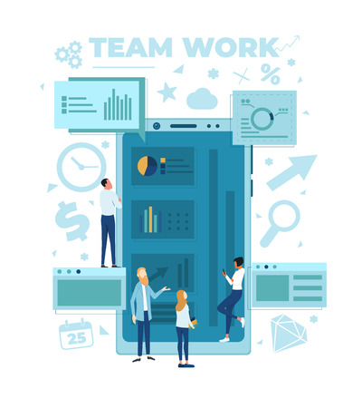 The team is working on a business project. The working process. Analytics, information gathering, teamwork. Smartphone and business team isolated on white background. Vector illustration. Çizim