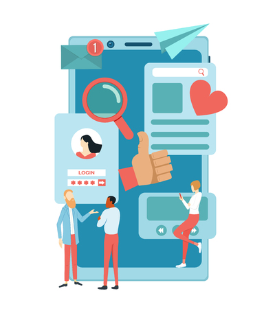 Social media concept. Talking people on the background of the smartphone. Social networking applications. Vector illustration Stok Fotoğraf - 125882490
