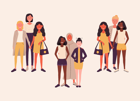 Women of different nationalities together. Female friends hold hands. Group of feminists, sisterhood. Happy women or girls isolated on white background. Vector illustration