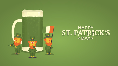 Saint Patricks day. Leprechauns holding a flag and a violin on the background of a beer mug. Illustration for poster, banner or flyer. Vector illustration Illustration
