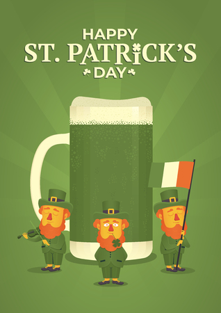 Saint Patricks day. Leprechauns holding a flag and a violin on the background of a mug of green beer and green light rays. Illustration for poster, banner or flyer. Vector illustration 일러스트