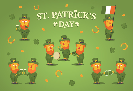 Saint Patricks day. Set of leprechauns. Leprechauns with beer mugs, musical instruments and flag of Ireland. Gold coins, quatrefoils and horseshoes. Vector illustration