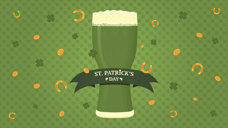 Saint Patricks day. Glass of green beer with ribbon banner. Gold coins, quatrefoils and horseshoes. Illustration for poster, flyer or banner. Vector illustration