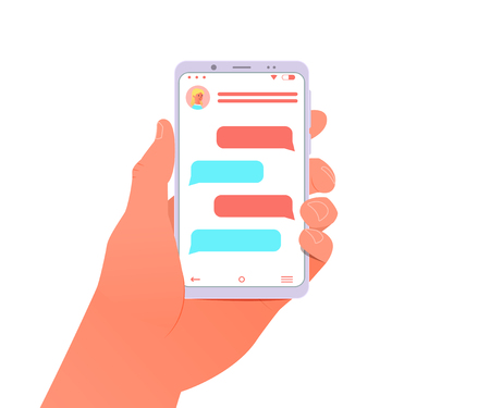 Mobile phone chat concept. Man hold in hand smartphone. Online talking. Vector illustration