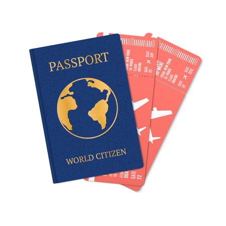 Airplane tickets with passport isolated on a white background, tickets with airplane icons, passport of the citizen of the worldVector illustration