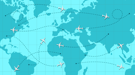 World map with airline routes, silhouette of world map with icons of airplanes, international flights, dotted line air path. Vector illustration