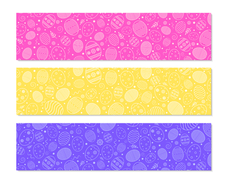 Easter banners with ornamental pattern, eggs and decorative elements. Easter colorful backgrounds. Vector illustration