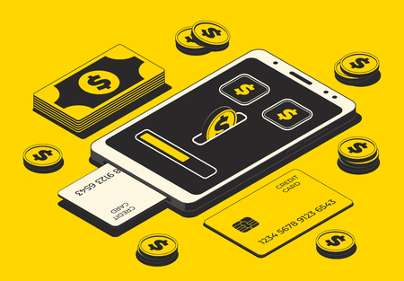 Mobile payment concept, financial transactions, online payment. Smartphone, money and credit card isolated on yellow background. Vector illustration