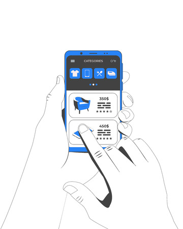 Hands holding smartphone. Online shopping concept. Smartphone with store application. Vector illustration