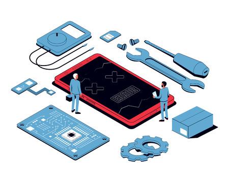 Riparazione mobile e concetto di servizio. Smartphone isometrico con strumenti e pezzi di ricambio. illustrazione vettoriale