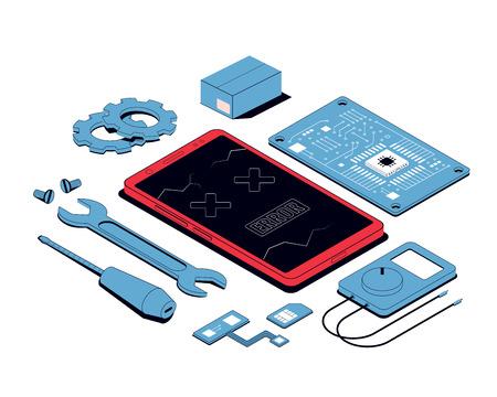 Riparazione mobile e concetto di servizio. Smartphone isometrico con strumenti e pezzi di ricambio. illustrazione vettoriale Vettoriali