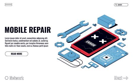 Mobiel reparatie- en serviceconcept. Isometrische smartphone met gereedschap en reserveonderdelen. vectorillustratie