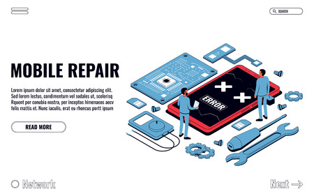 Mobile Repair and Service Concept. Isometric Smartphone with Tools and Spare Parts. Vector Illustration Ilustração Vetorial
