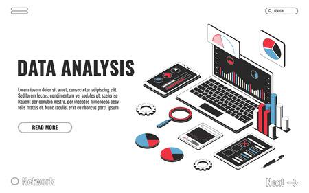 Concept d'analyse de données, analyse financière, stratégie commerciale, audit. Ordinateur portable avec graphique, smartphone avec diagramme, presse-papiers avec stylo isolé sur fond blanc. Illustration vectorielle