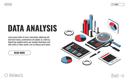 Data analysis concept, financial analysis, business strategy, audit. Laptop with chart, smartphone with diagram, clipboard with pen isolated on white background. Vector illustration
