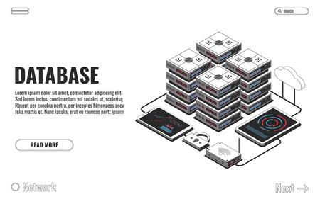 Database, big data, server room, cloud storage icon, information center, hosting services, datacenter and database. Vector illustration