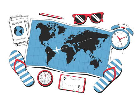 Travel concept. World map, sunglasses, compass, passport, alarm clock and tickets isolated on white background. Travel concept illustration for poster, banner or web. Vector illustration Ilustrace