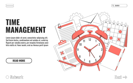 Time management concept illustration, organization, working time. Landing page template. Easy to repaint and adapt to your design.  Vector illustration 向量圖像