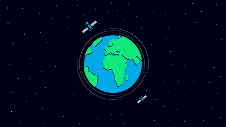 Happy Earth Day. Earth and satellites in space. Template for Banner, Poster or Flyer. Vector illustration