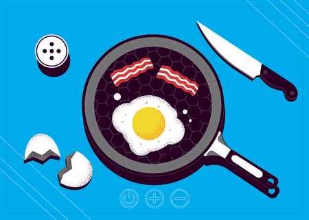 Breakfast top view. Frying pan with egg and bacon on a cooking stove. Vector illustration Stock Illustratie