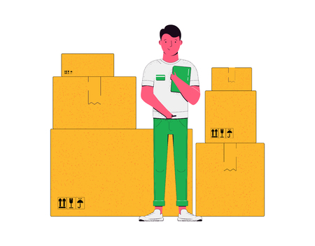 Delivery concept illustration. Courier with cardboard boxes, cargoes, goods isolated on a white background. Vector illustration