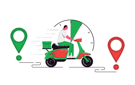 Delivery concept illustration. Courier on a scooter with a cargo isolated on a white background. Food service. Vector illustration