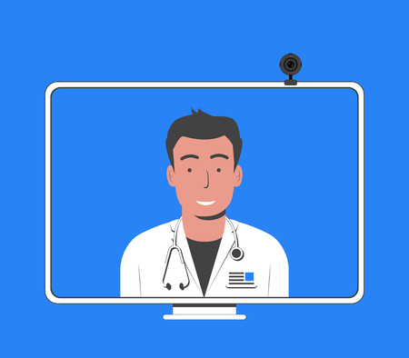 Online doctor concept. Online medical consultation and support. Computer monitor with doctor. Vector illustration