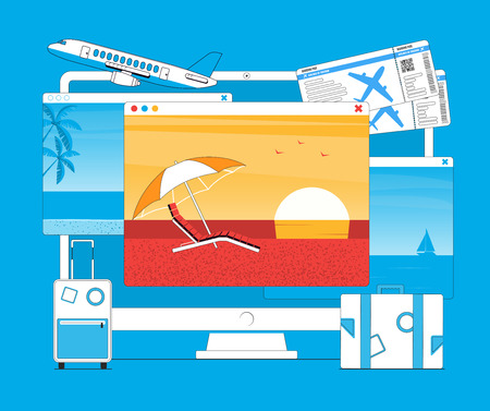 Vacation and travel concept. Office workplace, Images of beaches with palm trees and sun lounger on the monitor. Vector illustration