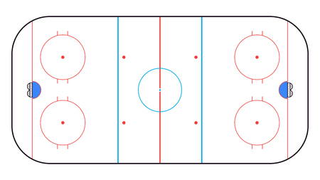 Ice Hockey Rink top view. Hockey background. Vector illustration Vectores